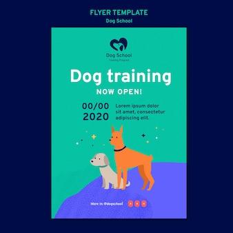 Szablon ulotki koncepcja szkoły psa