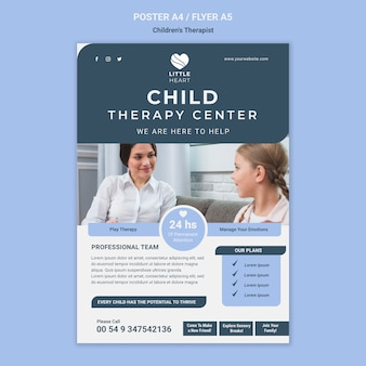 Szablon ulotki koncepcja terapeuty dla dzieci