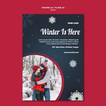 Szablon ulotki koncepcja zima