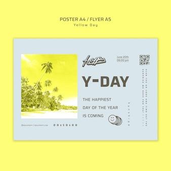 Szablon ulotki koncepcja żółty dzień