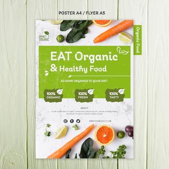 Szablon ulotki koncepcja żywności ekologicznej