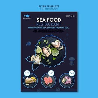 Szablon ulotki koncepcja żywności morskiej