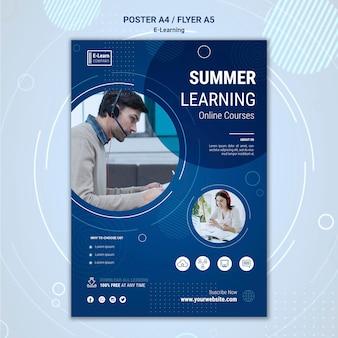 Szablon ulotki koncepcji e-learningu