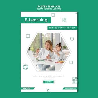 Szablon ulotki kreatywnego e-learningu
