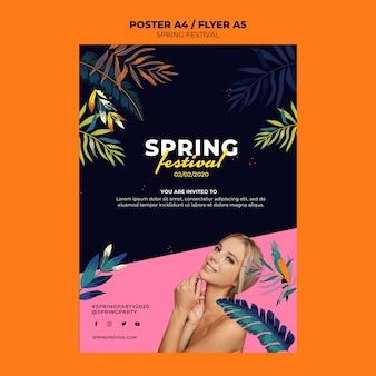 Szablon ulotki kreatywny festiwal wiosny