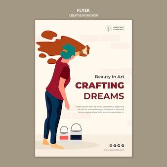 Szablon ulotki kreatywnych warsztatów