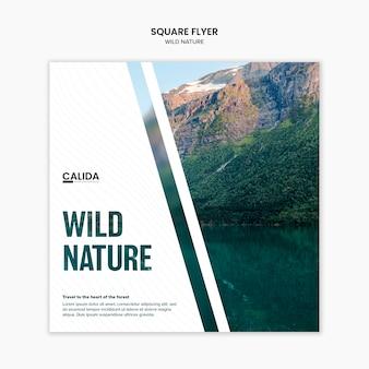 Szablon ulotki kwadrat dzikiej przyrody