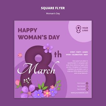 Szablon ulotki kwadratowe dzień kobiet