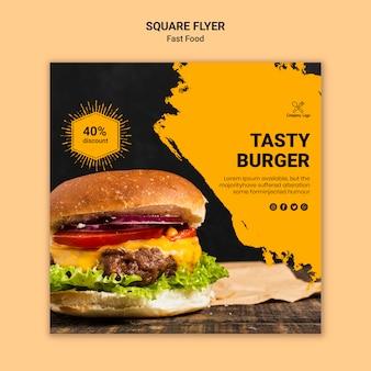 Szablon ulotki kwadratowe fast food
