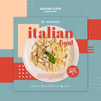 Szablon ulotki kwadratowe włoskie jedzenie