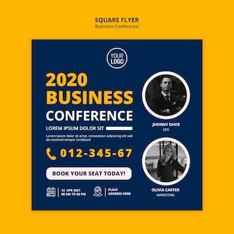 Szablon ulotki kwadratowej koncepcji konferencji biznesowej