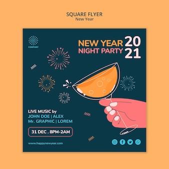 Szablon ulotki kwadratowej koncepcji nowego roku