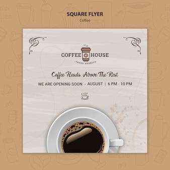 Szablon ulotki kwadratowych kawiarni