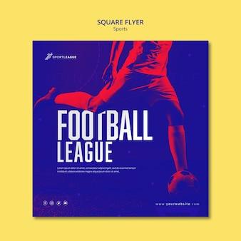 Szablon ulotki kwadratowych ligi piłki nożnej