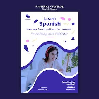 Szablon ulotki lekcji hiszpańskiego