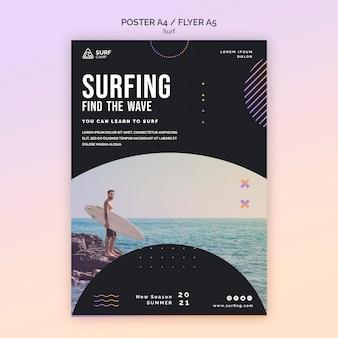 Szablon ulotki lekcji surfingu ze zdjęciem