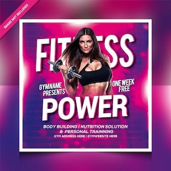 Szablon ulotki lub postu na instagramie fitness power gym