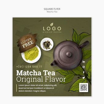 Szablon ulotki matcha herbaty kwadrat ze zdjęciem
