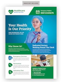 Szablon ulotki medycznej opieki zdrowotnej