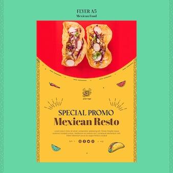 Szablon ulotki meksykańskie jedzenie restauracja