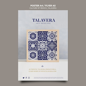 Szablon ulotki meksykańskiej kultury talavera