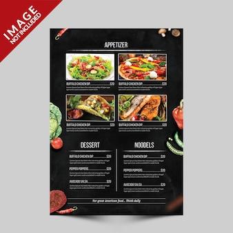 Szablon ulotki menu żywności strona a