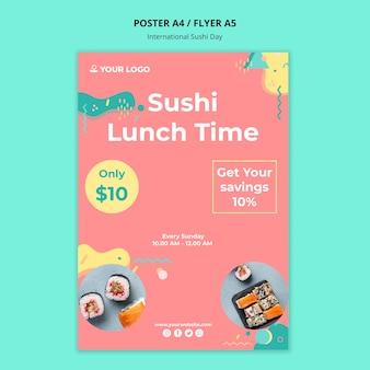 Szablon ulotki międzynarodowy dzień sushi
