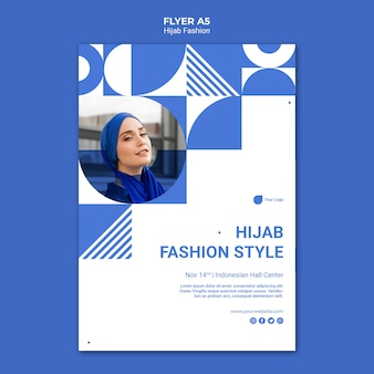 Szablon ulotki mody hidżabu