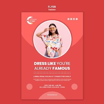 Szablon ulotki mody ze zdjęciem kobiety