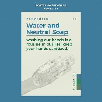 Szablon ulotki mydła wody i neutralne