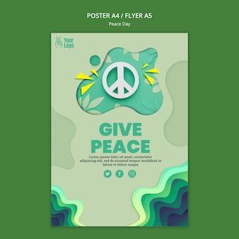 Szablon ulotki na międzynarodowy dzień pokoju