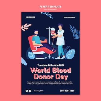 Szablon ulotki na światowy dzień dawcy krwi