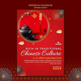 Szablon ulotki na wystawę kultury chińskiej