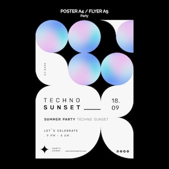 Szablon ulotki o zachodzie słońca w stylu techno