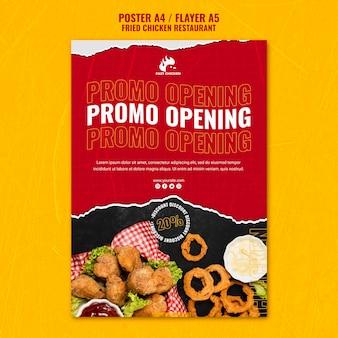 Szablon ulotki otwierającej promocję smażonego kurczaka