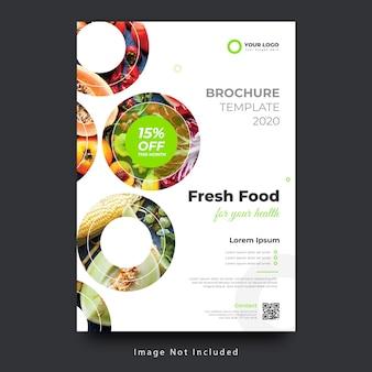 Szablon ulotki plakat ekologicznej świeżej żywności