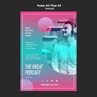 Szablon ulotki podcastu radiowego