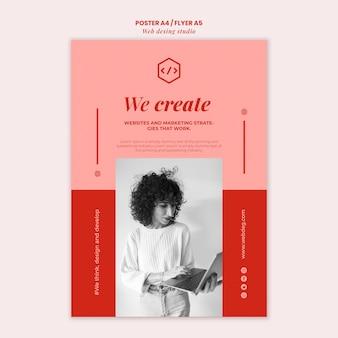 Szablon ulotki projektu sieci web studio