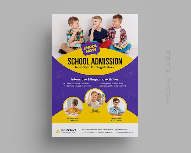 Szablon ulotki przyjęcia do szkoły dla dzieci