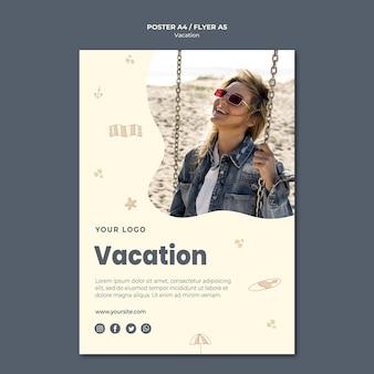 Szablon ulotki reklamowej na wakacje