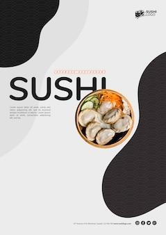 Szablon ulotki restauracji azjatyckiego sushi