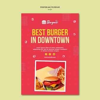 Szablon ulotki restauracji burger