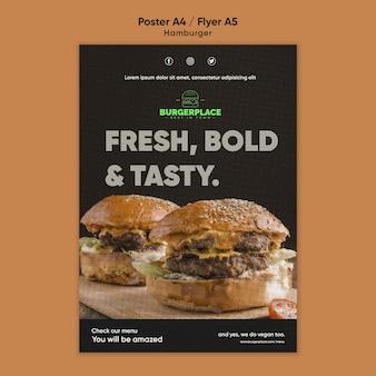 Szablon ulotki restauracji z hamburgerami
