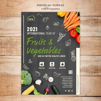 Szablon ulotki roku owoców i warzyw