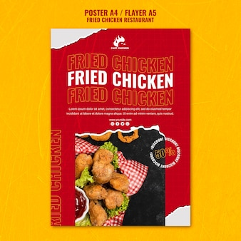Szablon ulotki smacznego smażonego kurczaka