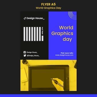 Szablon ulotki światowego dnia grafiki