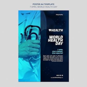Szablon ulotki światowego dnia zdrowia ze zdjęciem