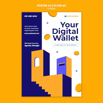 Szablon ulotki usług e-portfela
