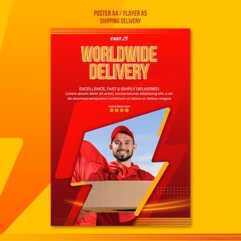 Szablon ulotki usługi dostawy