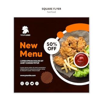 Szablon ulotki w kształcie kwadratu dla restauracji ze smażonym kurczakiem
